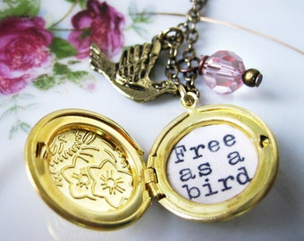 beatles inspirational necklace locket  jewelry with free as a bird  quote pendant beatles song locket with message womens necklace