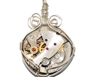 Steampunk Inspired Watch Movement Pendant (Hand Made in Cornwall) Silver Plated Wire Wrapped.