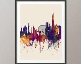 London Skyline, London Cityscape Skyline, Art Print (1576)