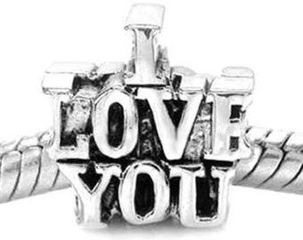 I LOVE YOU European Bracelet Bead Charm Tibetan Silver 13 x 13 mm - ec084