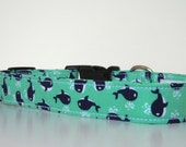 Whale Nautical Mint Green Navy Dog Collar Wedding Accessories Made to Order