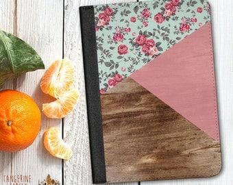 Green Floral Geometric Faux Wood Design Leather Case. Choose iPad 2/3/4, iPad Air or iPad Mini.