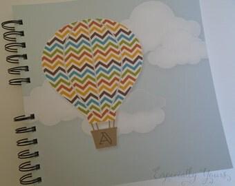 Baby Book |  Baby Memory Album | Chevron Hot Air Balloon Personalized Wire Bound Baby Memory Book Keepsake Album