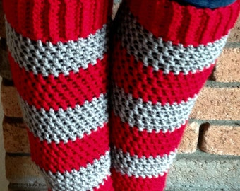 Teen - Adult Leg Warmers -Red and Gray Sport Stripe - Acrylic Yarn Blend  - Handcrafted Crochet - Accessory