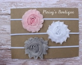 Set of 3- Light Pink, White and Grey Shabby Flower Headband Set/ Headband/ Newborn Headband/ Baby Headband/ Wedding/ Photo Prop