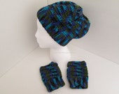 Crochet Handmade Basic Beanie Slouch Hat and Wrist Hand Warmers Fingerless Gloves Mitts TEEN-ADULT size