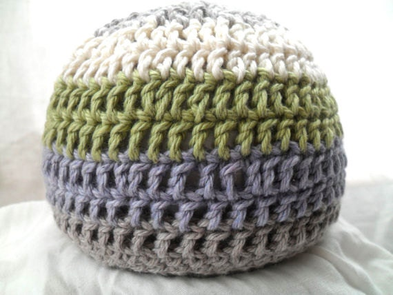 Baby Hat (6-12 months) Vegan Organic Cotton - READY TO SHIP - Grey Trim with LIlac, Green, and White Stripe - Baby Hat - Eco Baby Hat