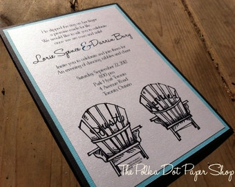 Adirondack Chair Wedding Invitation / Muskoka Chair Wedding Invitation / Fully Customizable / Country Invite  / Cottage Wedding Invitation