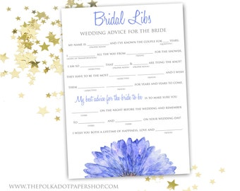 Blue Bridal Mad Libs Bridal Shower Game - INSTANT DOWNLOAD