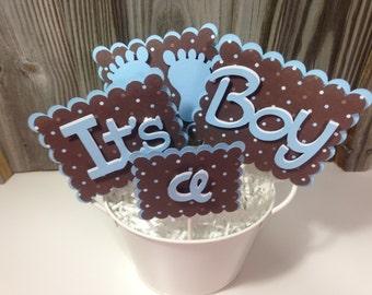 4 Piece Cake Topper Set - BLUE BABY FEET - Baby Shower/It's a Boy - Decorations/Centerpiece/Favors