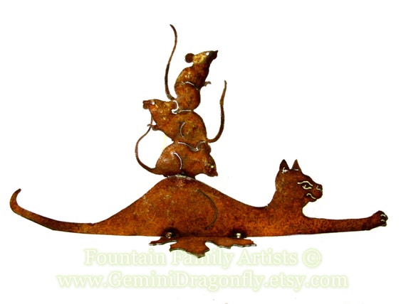 """Garden Art Cat and Mice """"Friends"""" Recycled Metal Eco Gift"""
