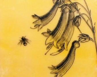 Yellow Bee and Flowers Original Encaustic Painting