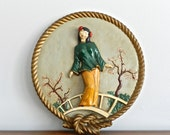 Large Vintage Asian Chalkware Art Piece Wall Hanging Raised Relief Female Figurine Woman Japanese Chinoiserie Decor