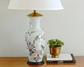 Vintage Asian Table Lamp Pale Blue Hand Painted Pastel Cottage Chinoiserie Chic Decor