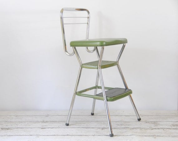 Vintage Cosco Retro Step Stool Flip Up Seat Booster 1950s Good