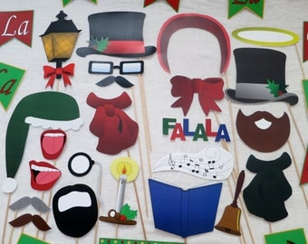 PDF - Christmas Caroling Photo Booth Props - PRINTABLE Photobooth DIY