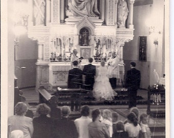 Vintage Wedding Photo - The Bride and Groom Exchanging Vows - Poland 1950s - Real Photograph Black & White