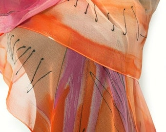 Abstract hand painted silk scarf/Hand painted shawl/Painting silk scarf/Woman accessory/Luxury silk scarf/Long silk scarf/Abstract drawing