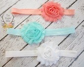 Headband Gift Set - 3 pieces - Soft Elastic with Shabby Chiffon Rosettes - Newborn Baby Infant- Photo Prop Set - Coral Aqua White