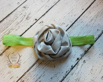 Lime Green & Gray Headband - Satin Rosette Flower  -  Baby Infant Toddlers Girls Women Silver Grey Green