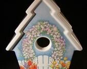 Vintage Spring Birdhouse-Ceramic Porcelain Teleflora Gifts Planter Vase