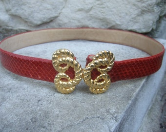 Exotic Red Snakeskin Gilt Buckle Belt  Size Small c 1980s