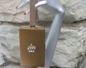 Opulent Gilt Metal Compact Evening Bag c 1960