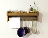 Pot Rack, Wood Spice Rack, Wood Kitchen Shelf, Spice Shelves, Spice Cabinet, Rustic Kitchen Decor, Choose the Stain