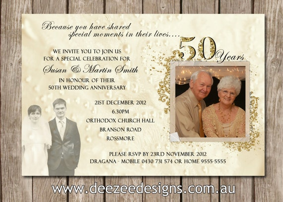 60th Wedding Anniversary Invitations: Photo Personalised 50th 60th 25th Wedding By Deezeedesign