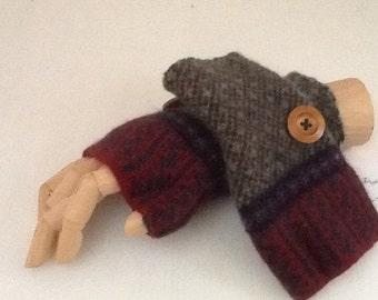 Repurposed Wool Sweater Fingerless Gloves