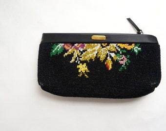 Black Clutch with Vintage Needlepoint Look Floral