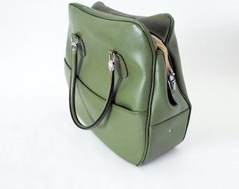 Vintage Avocado Green Vinyl American Tourister Carry On Shoulder Bag