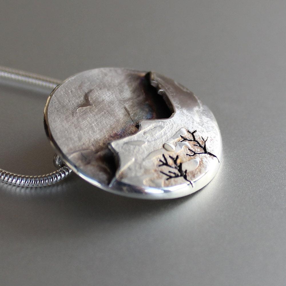 mountain bird pendant silver pendant silver jewellery