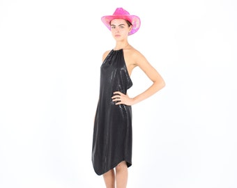 SALE - 90s Leather Look PVC Snake Skin Reptile Metal Ring Halter / High Neck Minimal / Futuristic Party / Cocktail Dress