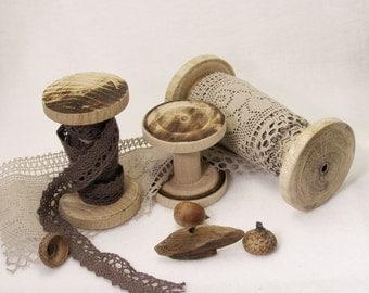 Craft tools Natural Wooden Spools Set of Three Wood Spools (Bobbins) rustic fall decor