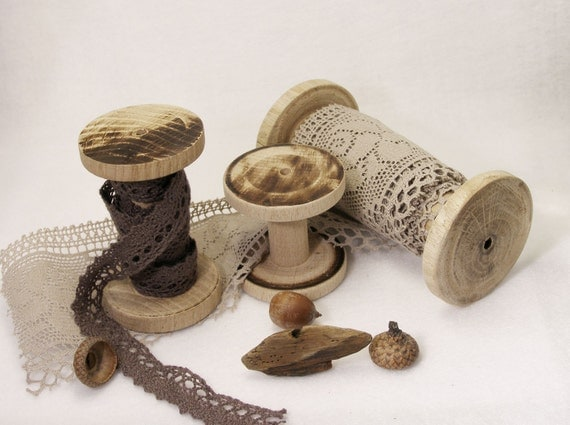 Craft tools Natural Wooden Spools Set of Three Wood Bobbins rustic fall decor textile ribbon lace organizer