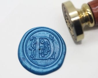 "S1146 Alphabet Letter "" D "" Wax Seal Stamp , Sealing wax stamp, wax stamp, sealing stamp Flower Sytle"
