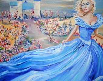 Beautiful Woman, Cinderella Oil, Girl Blue Gown Fleeing Castle Oil Painting, 30,23, Dan Leasure