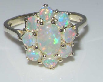 9k white gold total 13ct natural colorful opal wedding ring cluster flower ring - Opal Wedding Ring
