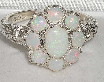 Colorful Opal Ring, 9K White Gold Cluster Flower Ring, English Vintage Design Ornamental Floral Ring- Customize:14K,18K