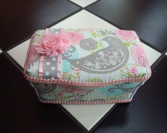 Boutique Diaper Wipes Tub Wipes Container Aqua Pink Gray Grey Floral Girl Bird