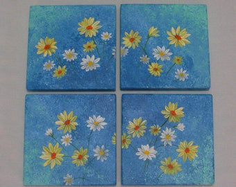 Original Folk Art Daisy Painting Quadriptych Farmhouse Country Cottage Chic Decor Reclaimed Wood