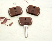 Personalized Set of Three- Leather Key Cover -Key Topper -Key Cap