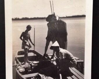 Original Antique Photograph Boat Prep