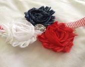 Traditional Red, White and Blue Rosette Headband