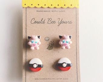 Jiggly Puff + Pokeball  Earrings