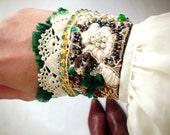 Cuff Bracelet / Green Cream / Vintage Lace / Embroidery / Rhinestone / Silk / Handmade / Rhinestone