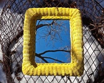 Mirror, Wicker Mirror, 12 x 14 Mirror, Boho Chic, Sunny, Yellow Mirror, Beach Wall Decor, Bohemian, Yellow Wicker Frame, Artsy Colorful