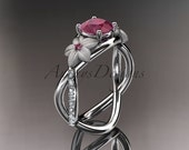 14kt  white gold diamond leaf and vine birthstone ring ADLR90 Ruby - July's birthstone. nature inspired jewelry