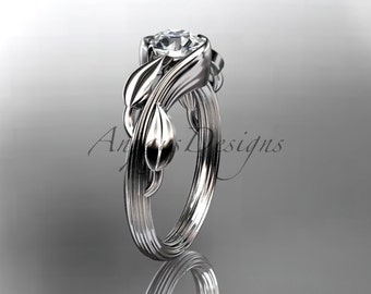 14kt white gold leaf and vine wedding ring, engagement ring ADLR273
